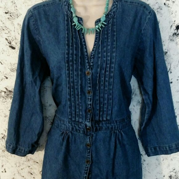 Blue Jean shirt Pleated front button down with tie Dress Barn Tops Button Down Shirts