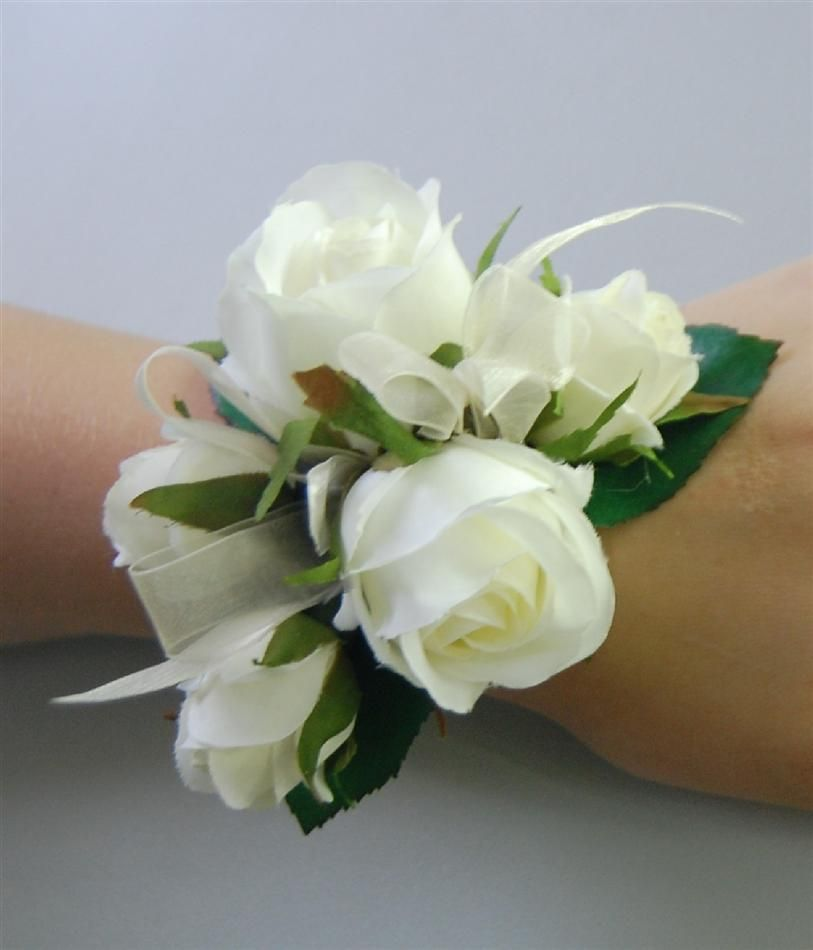 Wedding Flowers Corsage Ideas: Silk Wedding Wrist Corsage Artificial Fake Flower Roses