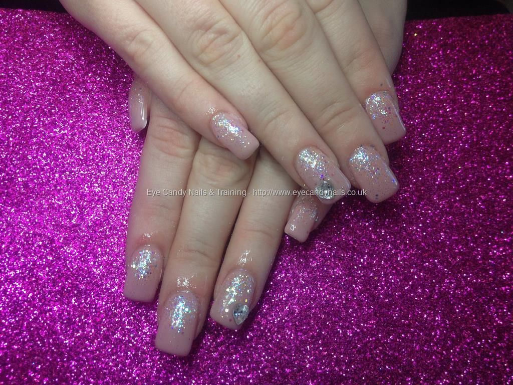 Acrylic Nails With Cover Pink And Large Swarovski Crystal