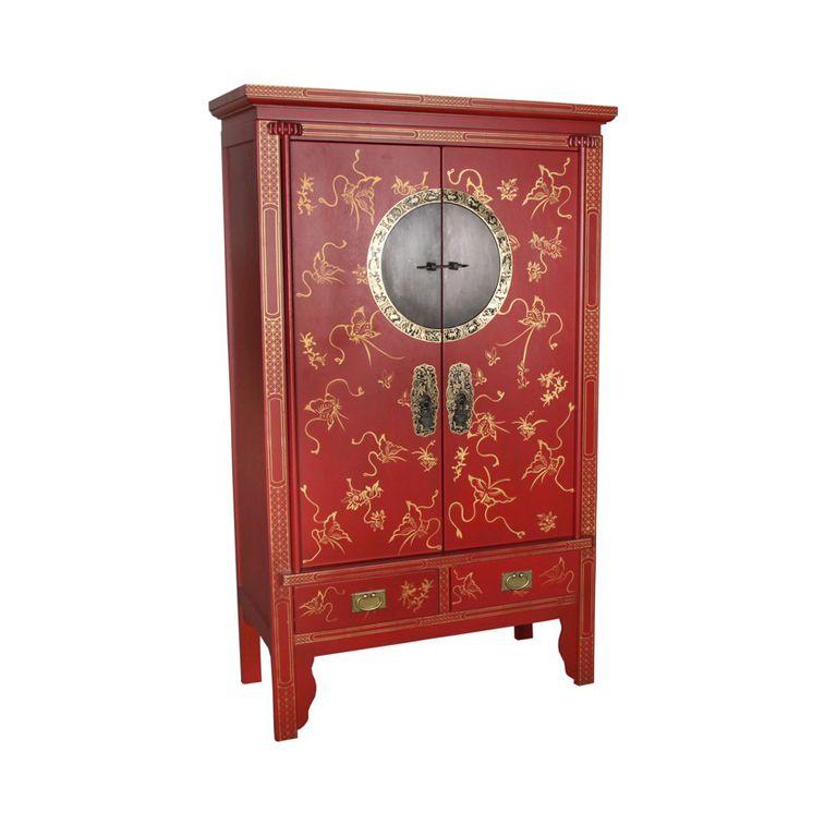 Chinese -sarjankoristemaalattukaappi kahdella ovella ja kahdella vetolaatikolla. Lakkamaalattua poppelia täyskuparisilla osilla. Koristemaalaus on kullan värinen. Värien symboliikkaa ja charmia kotiin. Väreillä on Kiinassa erityinen symboliikka. Punainen merkitsee elämää, musta valtaa ja rahaa, valkoinen surua, mutta tämän me yksinkertaisesti sivuutamme, sillä meillä valkoinen tarkoittaa viattomuutta ja puhtautta.