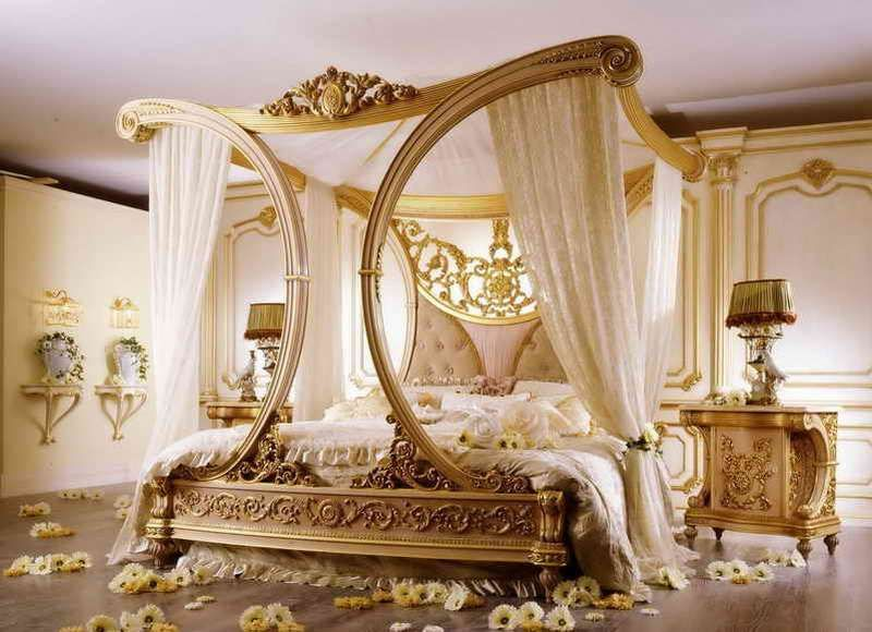 Romantic bedroom in vintage design and gold color : Home ...