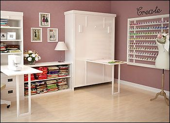 concealed murphy bed and love the thread storage | craft room