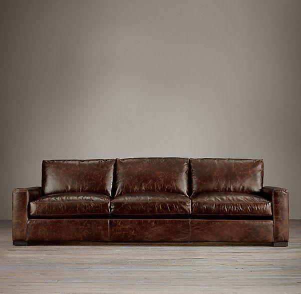 Maxwell Leather ThreeSeatCushion Sofa Basement wonders