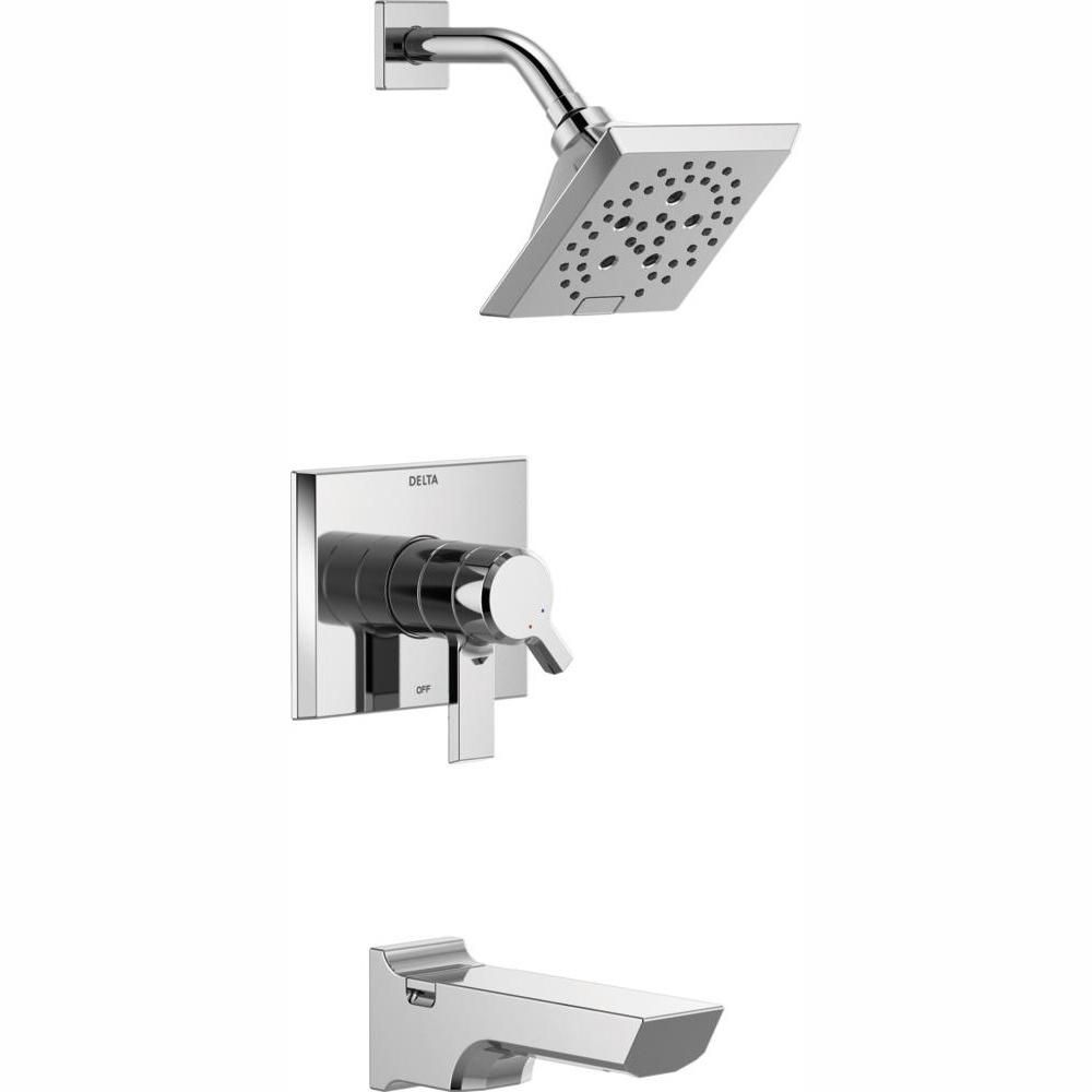Delta Pivotal 1 Handle Wall Mount Tub And Shower Trim Kit With H2okinetic Technology In Chrome Valve Not Included Grey Shower Faucet Shower Tub Delta Faucets