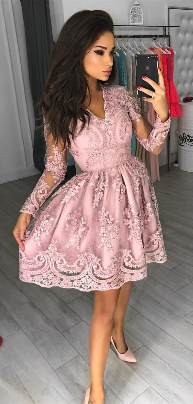 Aline vneck long sleeves aboveknee pink homecoming dress with