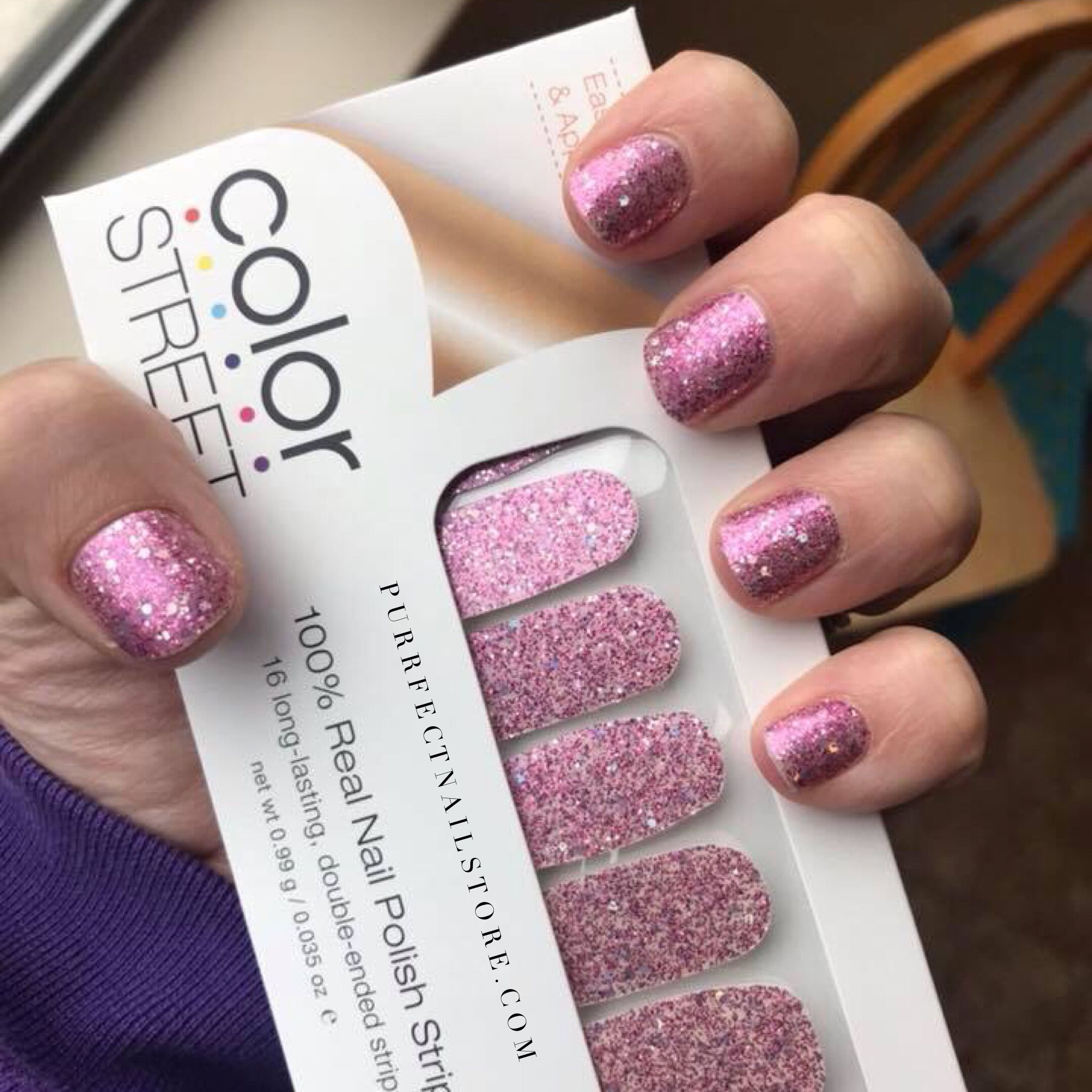Pink And Sparkly Color Street So Simple Color Street Nails Nails Nail Polish