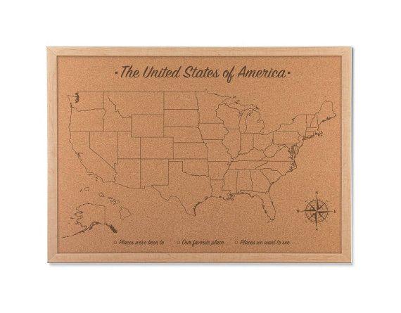 united states map cork board Usa Push Pin Travel Map Family Vacation Wall Hanging Corkboard Map
