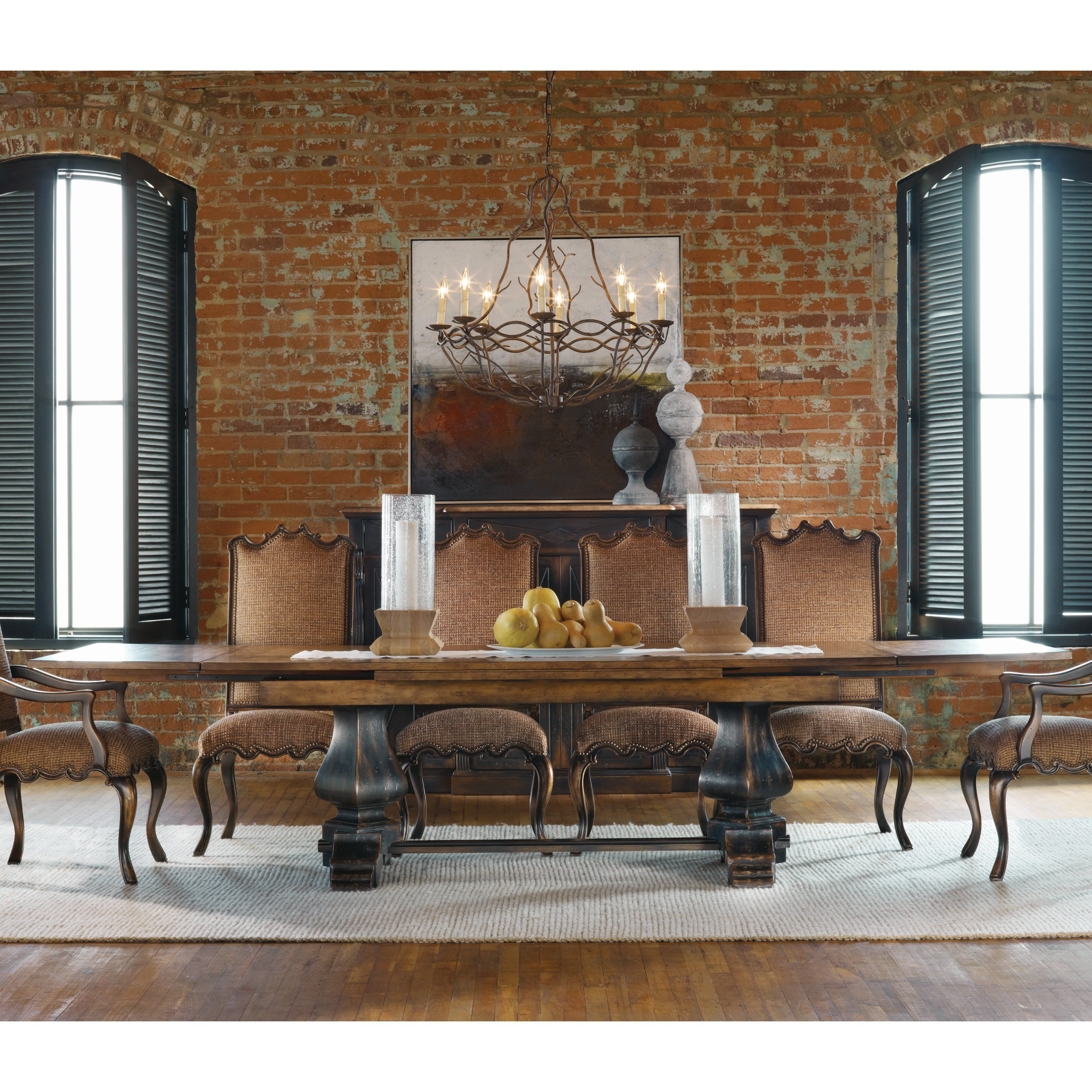 Great Hooker Furniture Sanctuary Refectory Trestle Dining Table   Ebony U0026 Drift