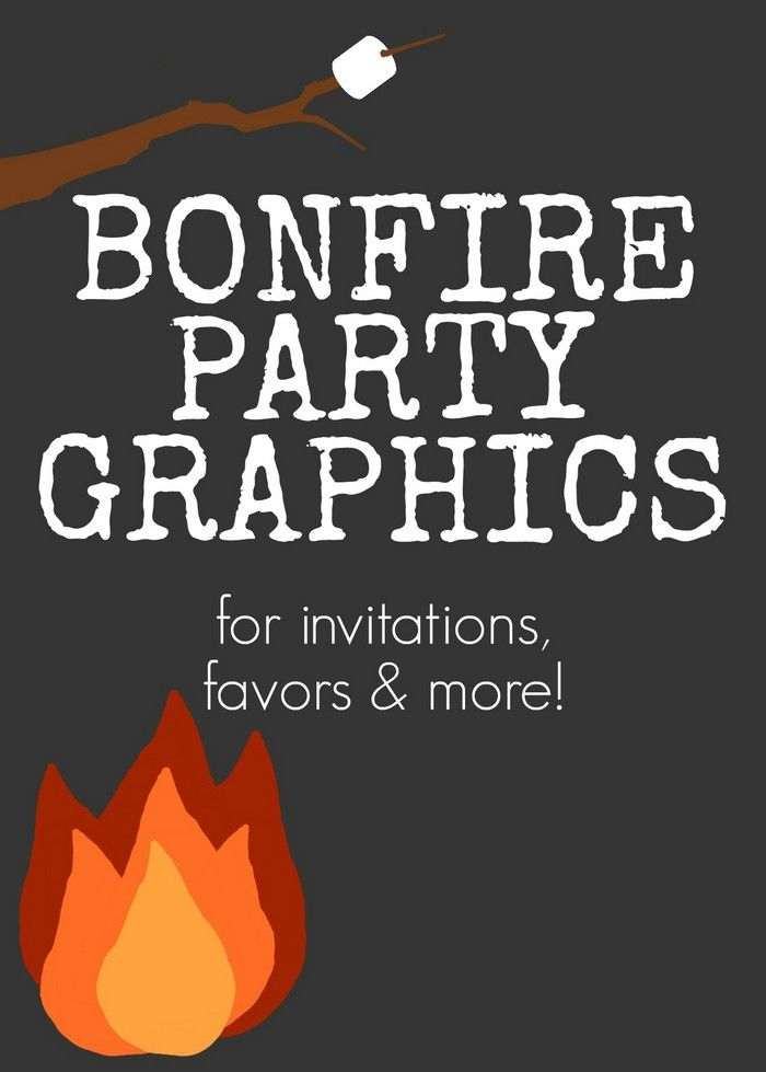 bonfire party graphics for invitations, favors, and more, Party invitations