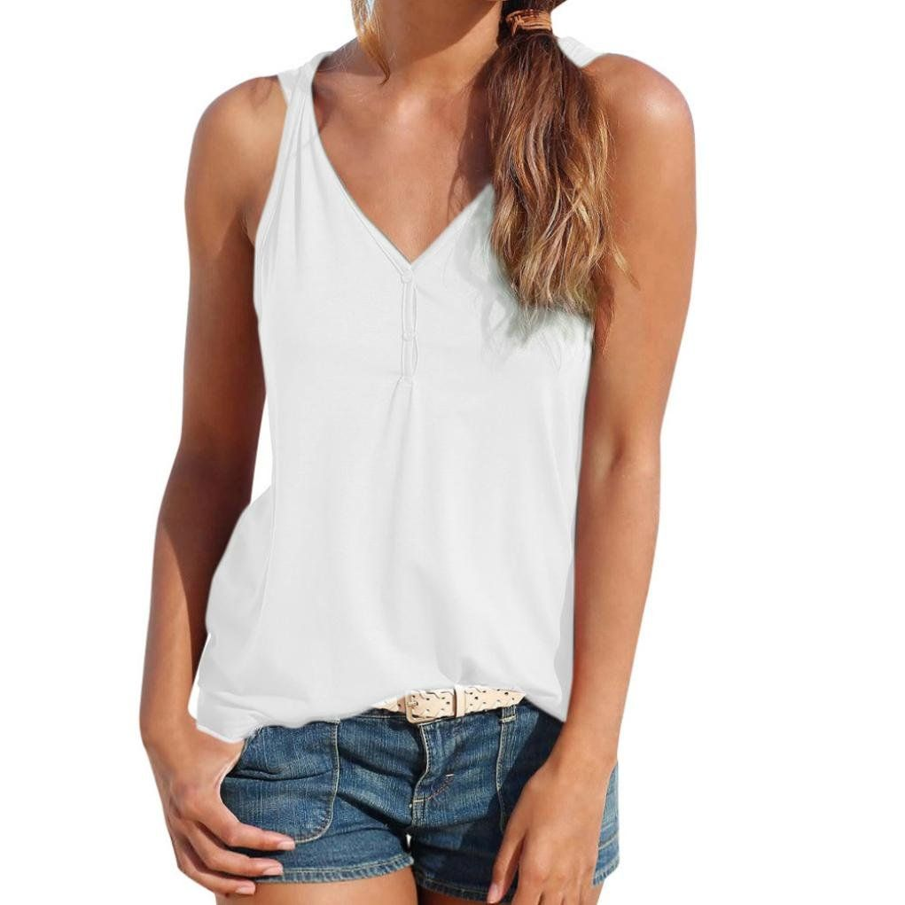 YOcheerful Women Tank Tops Sleeveless American Vest Casual Blouse T Shirt Loose Camisoles