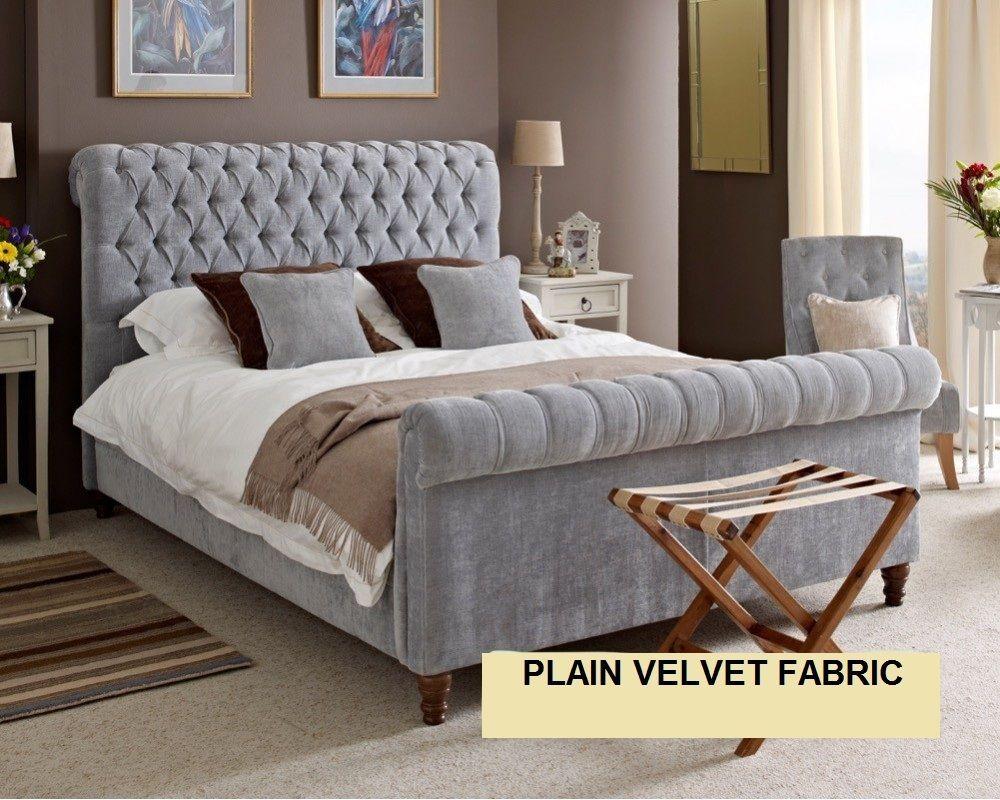 5ft GREY VELVET BED FRAME - KING SIZE PLAIN VELVET BEDSTEAD ...