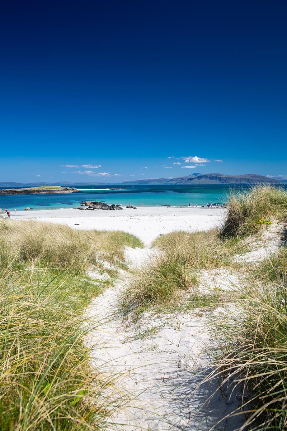 North shore beach of Iona, Scotland, just off the coast of the Isle of Mull, UK