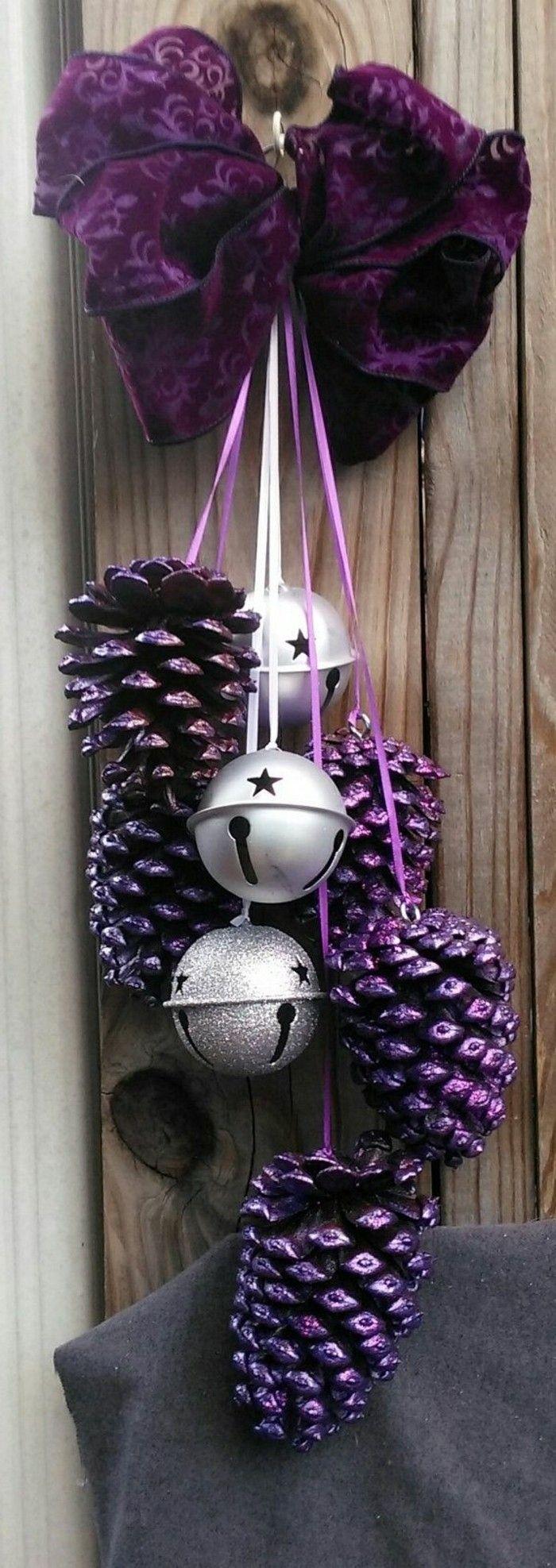 Diy deko 30 herbstliche deko ideen mit zapfen basteln decoratii de craciun pinterest - Weihnachtsdeko lila ...