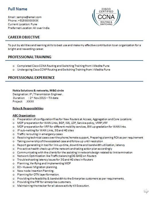 Ccna Resume Samples Top 5 Ccna Resume Templates In Doc Resume Internship Resume Sample Resume