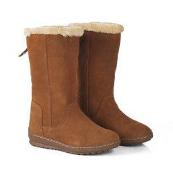 $29.99 Casual Women's Snow Boots With Solid Color and Faux Fur Design