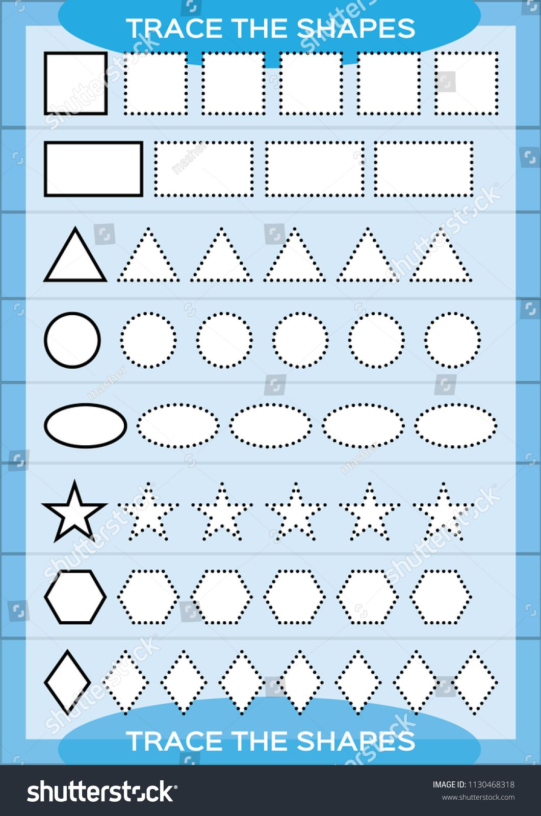 Trace The Shapes Kids Education Preschool Worksheet