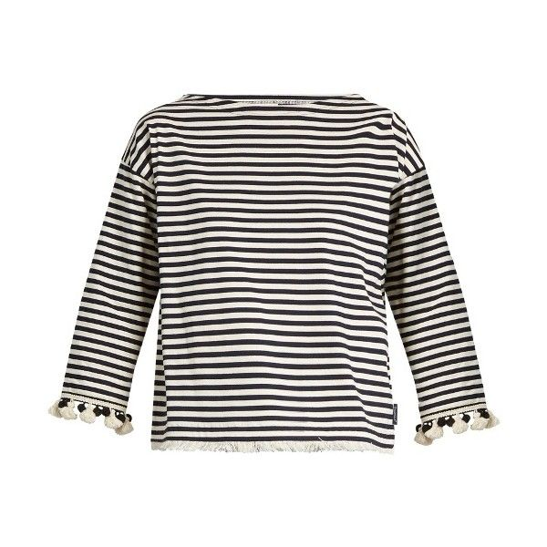 Moncler Pompom-embellished striped cotton top (1.495 BRL) ❤ liked on Polyvore featuring tops, cream stripe, bohemian tops, white boho top, embellished top, white embellished top and boat neck 3 4 sleeve top