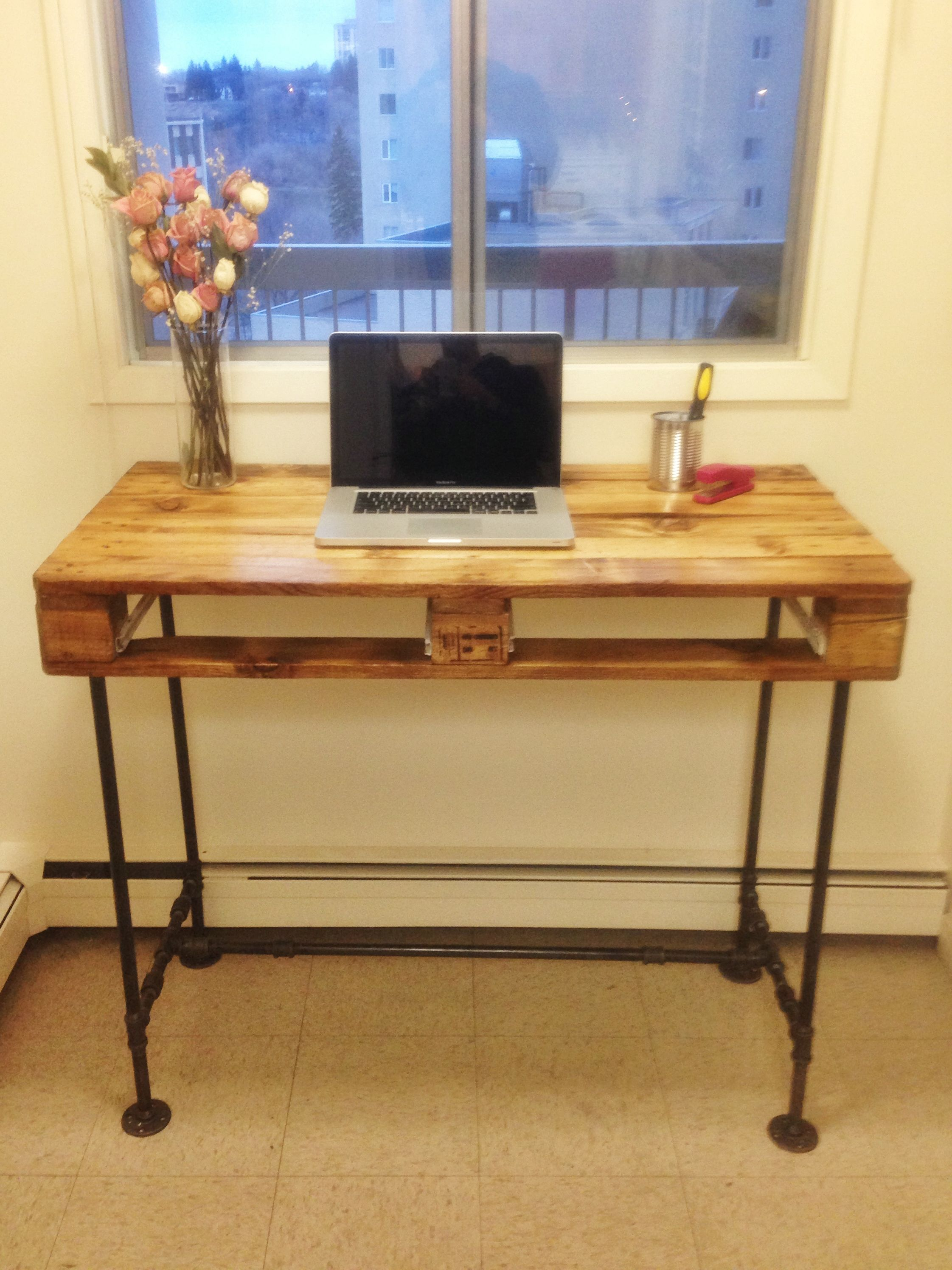 Pallet Stand Up Desk With Steel Pipe Legs My Diy S In 2019