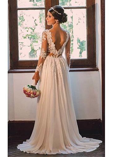 [141.50] Elegant Tulle & Chiffon V-neck Neckline Sheath Wedding Dresses With Beaded Lace Appliques