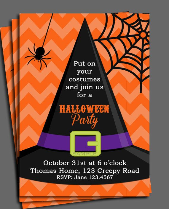 Halloween Invitation Printable or Printed with FREE SHIPPING-ANY