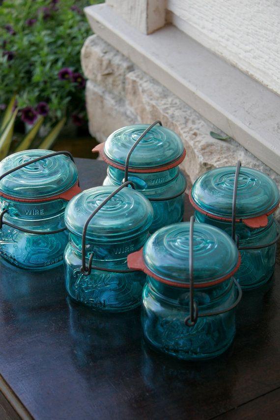 Ball Aqua blue bale wire half pint canning jars centennial eagle ...