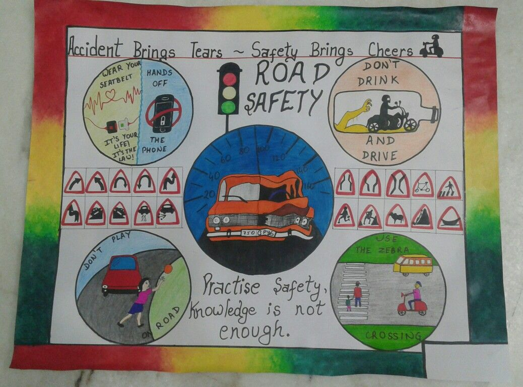 Road safety rules and symbols on chart with Brush pen and