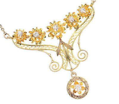 Petals Galore - Diamond Necklace c. 1910 - The Three Graces