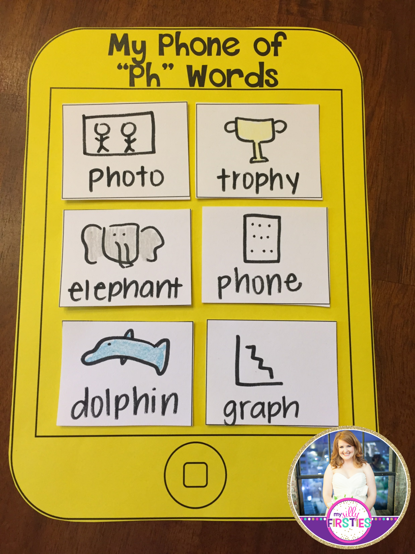 My Phone Of Ph Words Students Write Words With Ph On Their Phones Digraph Craftivity Teaching Phonics First Grade Phonics Digraph