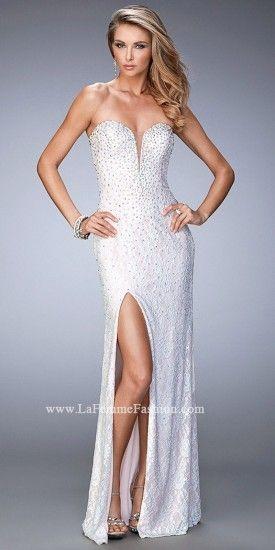 LaFemme Strapless Lace Side Slit Prom Dress By La Femme