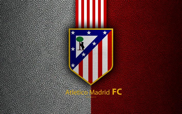 Download Wallpapers Atletico Madrid 4k Spanish Football Club La Liga Atletico Logo Emblem Leather Texture Bilbao Spain Football Besthqwallpapers Com Atletico Madrid Madrid Football Club