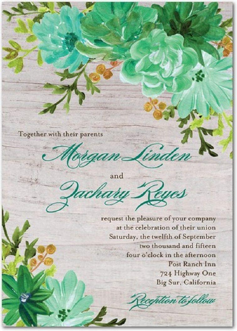 wedding invitation sample mint green  Botanical wedding