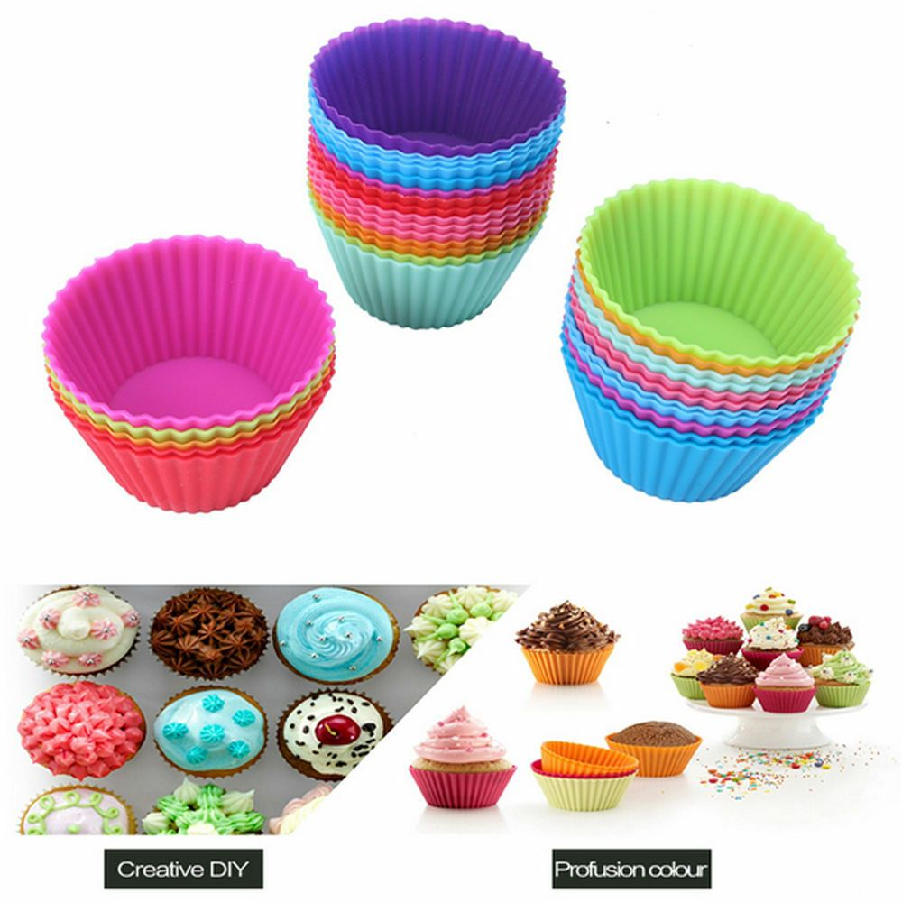 12pcs Silicone Cake Muffin Chocolate Cupcake Liner Baking Cup