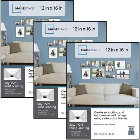 Mainstays 12 X 16 Format Frame Set Of 3 Picture Frame Wall Picture Frame Sets Picture Wall Bedroom