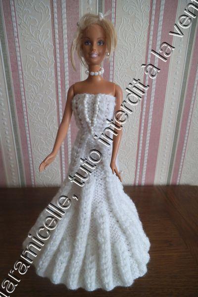 Robe de mari e tricot e pour poup e barbie tutoriel - Barbie mariee ...