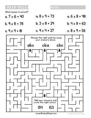 Free math mazes to practice addition, subtraction