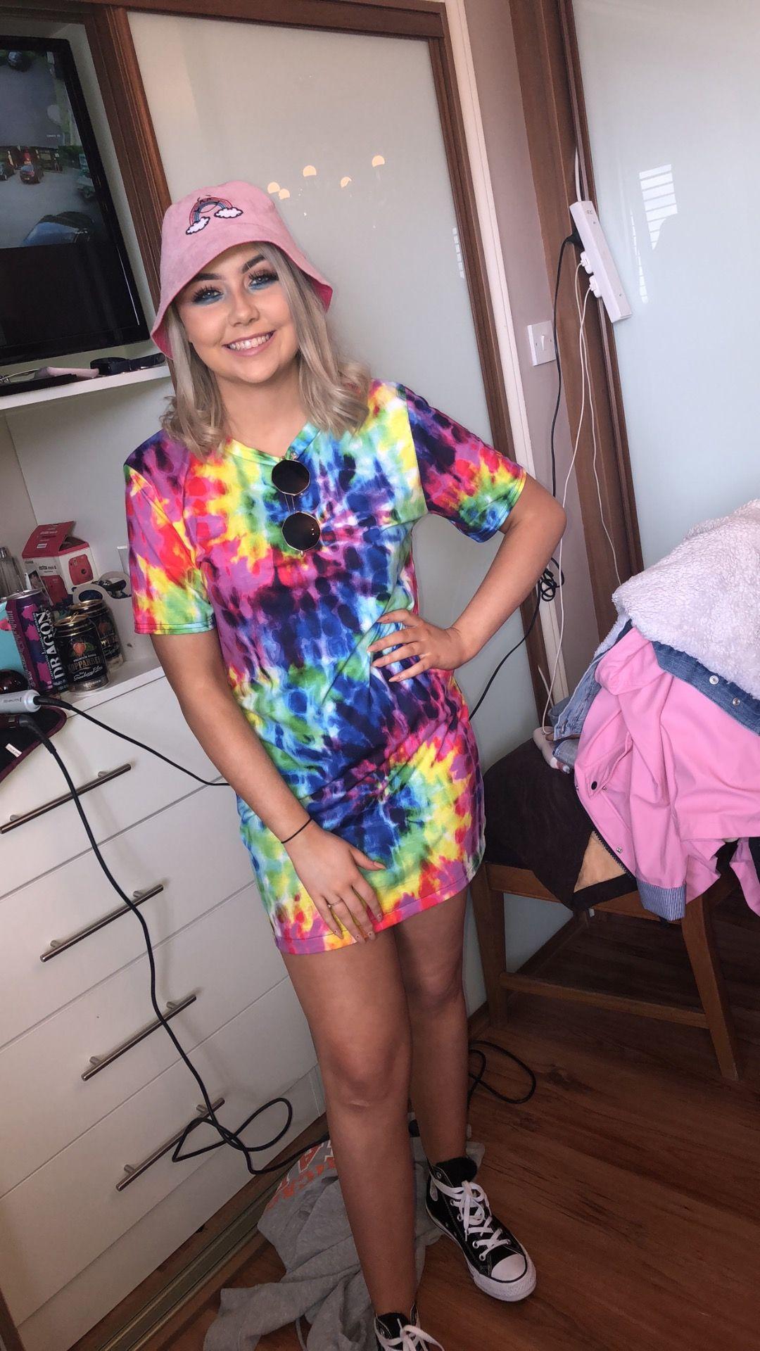 Festival Outfit Tie Dye Dress Bucket Hat Outfits With Hats Festival Outfit Rave Outfits