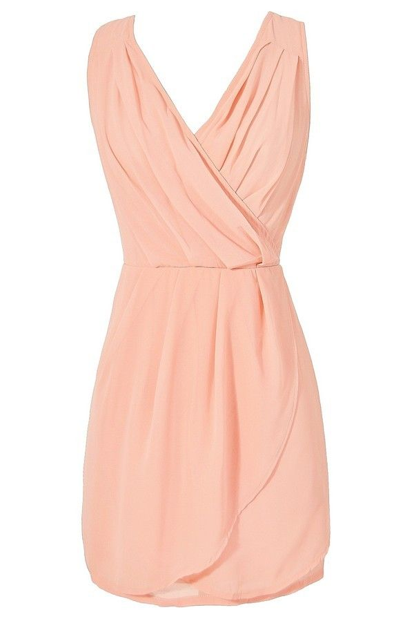 Bring Me Roses Cross Back Chiffon Dress In Peach