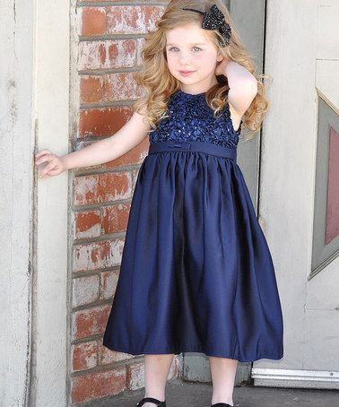 64f23cfeb84a This Navy Ruched Holiday Dress - Toddler & Girls by Sweet Charlotte is  perfect! #zulilyfinds