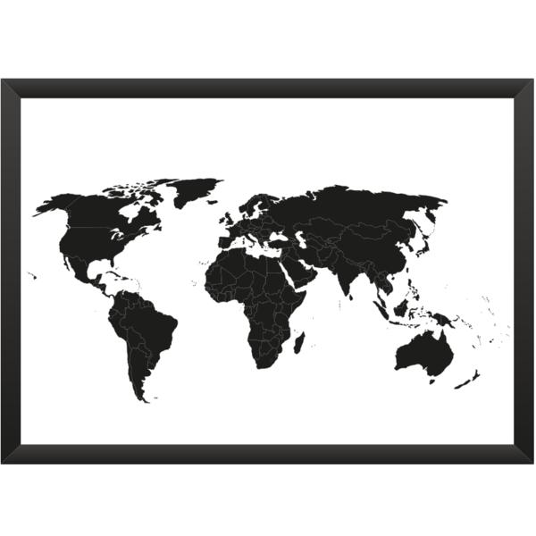 Fabulous Wanddeko Weltkarte Wei Schwarz mit Grenzen xcm ein Designerst ck von meine weltkarte