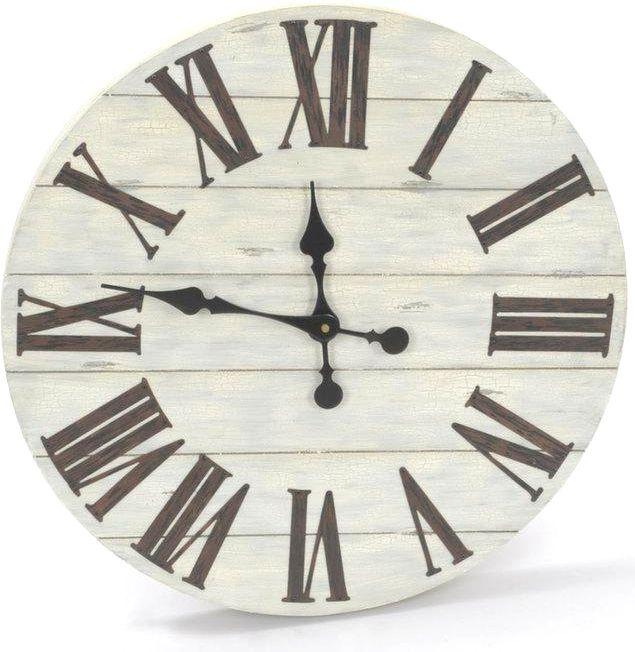 Horloge murale ronde en lattes de bois 50cm l 39 heure c for Pendule murale industrielle