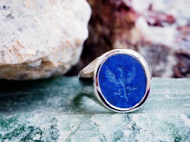 Silver Lapis Lazuli Signet Ring