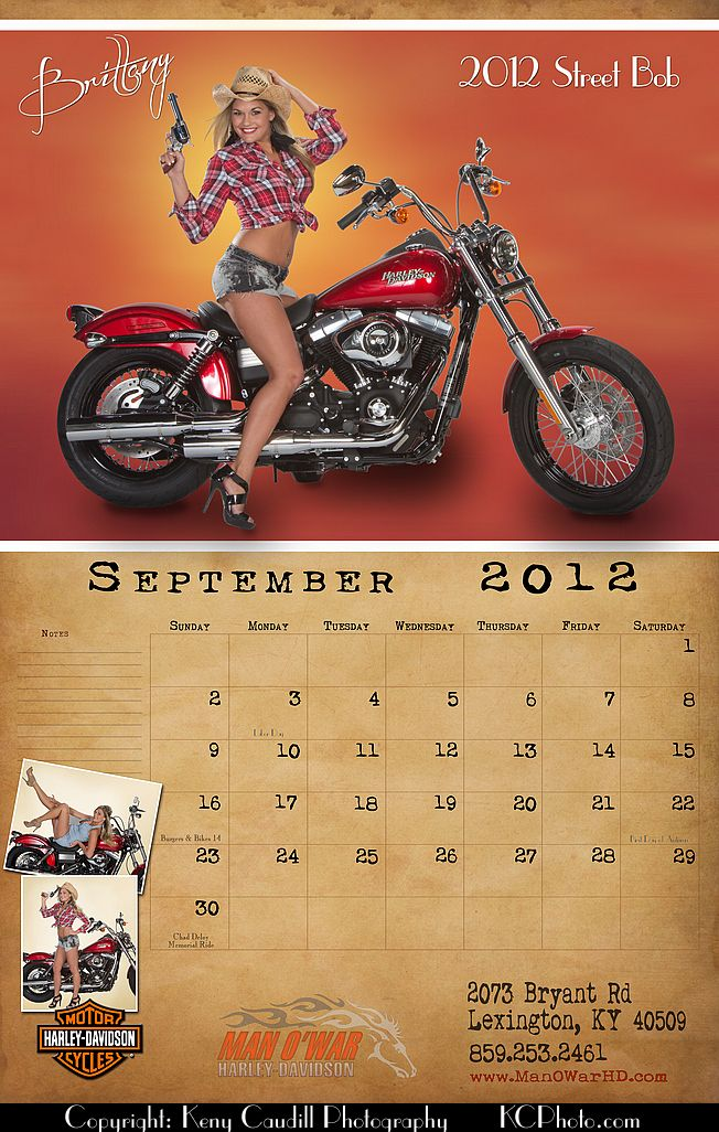 Man O'War Harley Davidson 2012 Calendar | Harley Pin ups | Pinterest