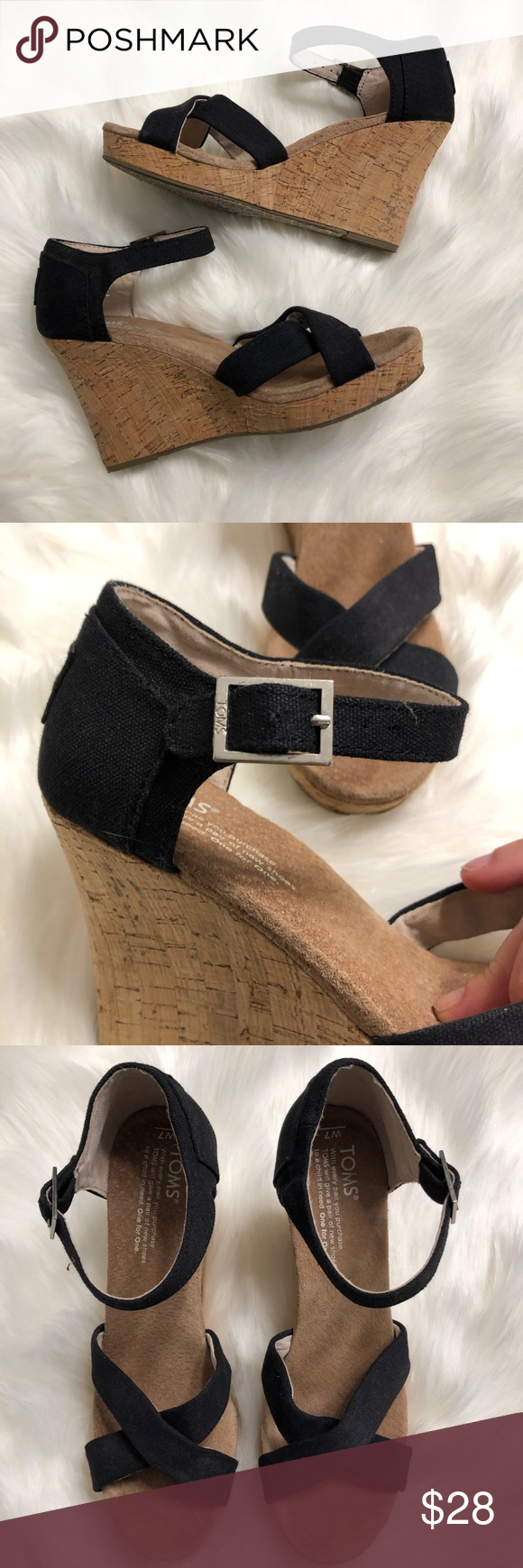 "aeb500353a6 TOMS Sienna Black Espadrille Wedge Sandals TOMS Sienna black strappy  espadrille wedge sandals. 3.75"" wedge heel. Size 7. Good used condition  with normal ..."