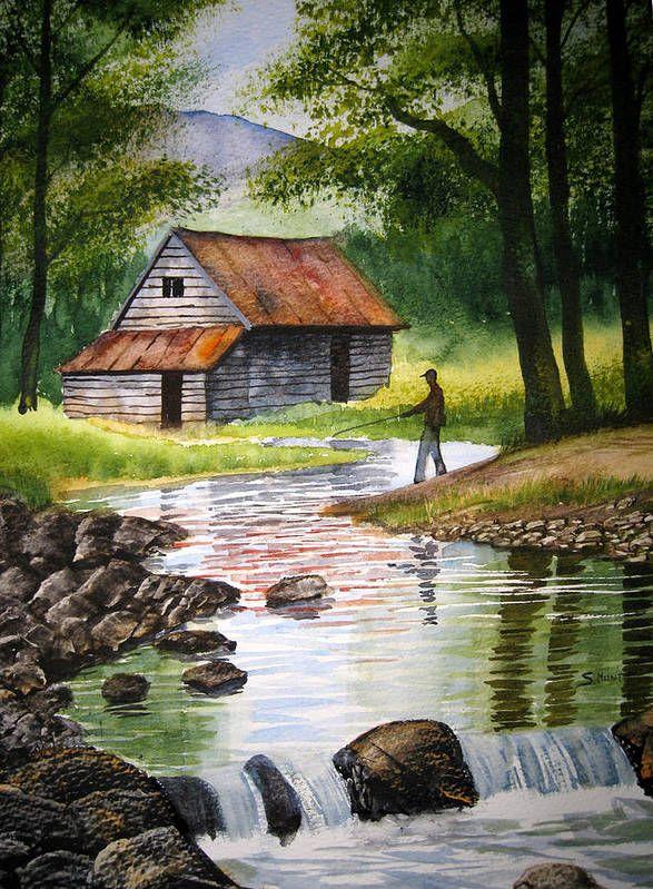 Fishing Upstream Art Print by Shirley Braithwaite Hunt