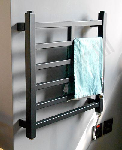 Thermostatic Electric Towel Rail Black Lineo 500h X 500w Mm Towel Rail Electric Towel Rail Black Towels