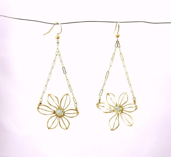 Gold Vermeil Floral Earrings with 14k Gold Filled by RawLuxGems, $28.00