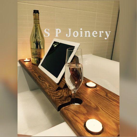 Handgemaakte houten Bad dienblad met Tablet / boek houder | badkamer ...