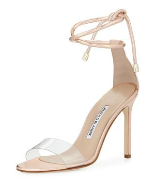 c0204eaa5 Manolo Blahnik Estro Leather   PVC Ankle-Wrap Sandal