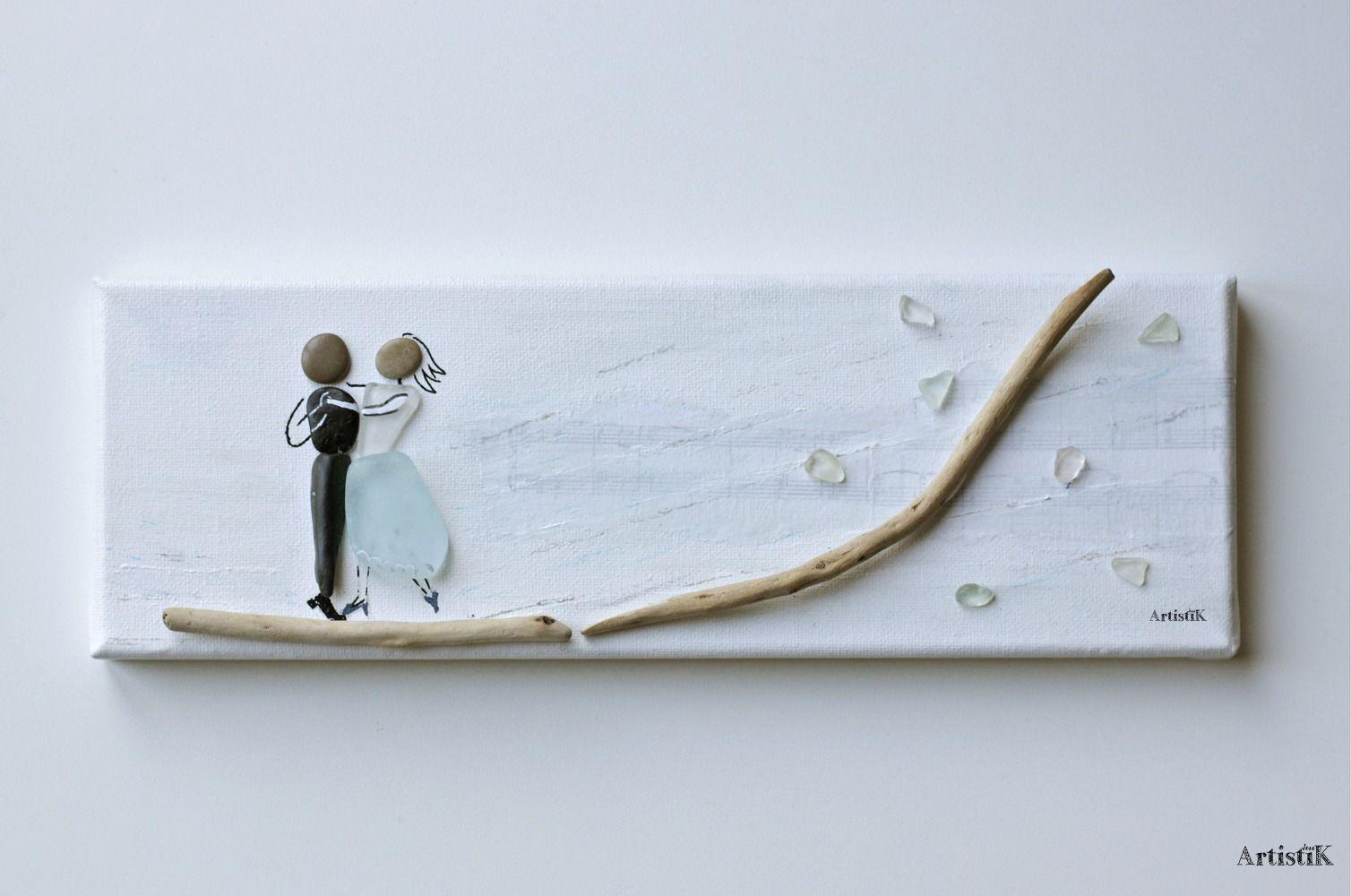 Faire Un Tableau Avec Des Galets tableau galets verre poli bois flotté personnages sur fond