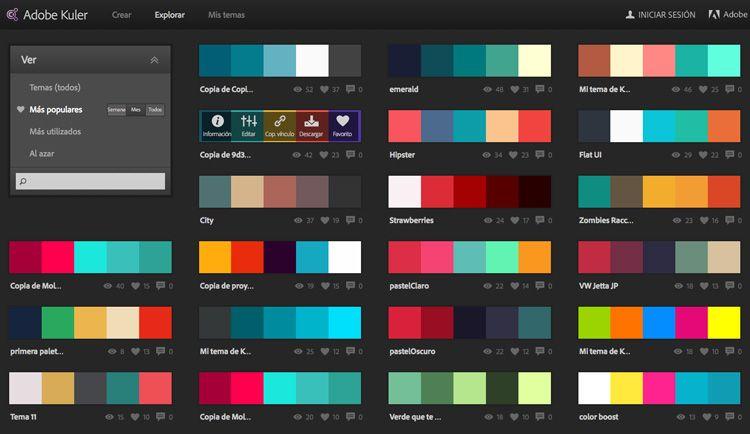 combinaciones de colores Adobe Kuler  Ideas  Colores